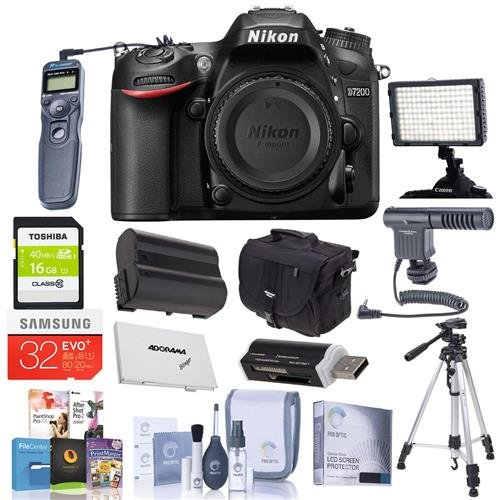 Nikon-D7200-DX-format-DSLR-Camera-Bundled-wCamera-Case-3216GB-Class-10-SDHC-Cards-Spare-Battery-Video-Light-Cleaning-Kit-Remote-Shutter-Trigger-Software-Package-Tripod-More
