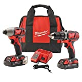Milwaukee 2691-22 18-Volt Compact Drill and Impact Driver Combo Kit (Color: Multi, Tamaño: 12 x 11 x 7 inches)