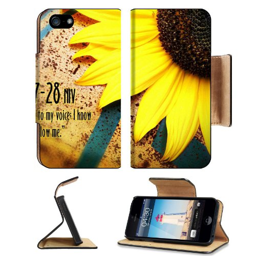 Christian Wallpaper With Sunflower Apple Iphone 5 Flip Cover Case With Card Holder Customized Made To Order Support Ready Premium Deluxe Pu Leather 5 3/16 Inch (132Mm) X 2 11/16 Inch (68Mm) X 9/16 Inch (14Mm) Msd Iphone 5 Professional Cases Touch Id Gold