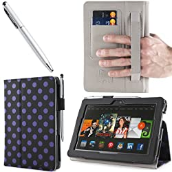 i-BLASON Kindle Fire HDX 8.9 inch Tablet Leather Case Cover / Stylus (Not Compatible with Kindle Fire HD 8.9 2012) 3 Year Warranty (Dalmatian Black)