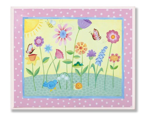 The Kids Room by Stupell Flowers with Pink Polka Dot Border Rectangle Wall Plaque