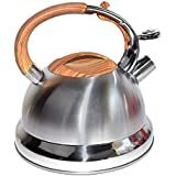 St. Millers Stainless Steel Whistling Tea Kettle Wooden Finish 3000Ml, 1Pc