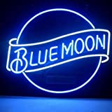 HOZER Professional BLUE MOON LAGER BEER Design Decorate Neon Light Sign Store Display Beer Bar Sign Real Neon Signboard for Restaurant Convenience Store Bar Billiards Shops