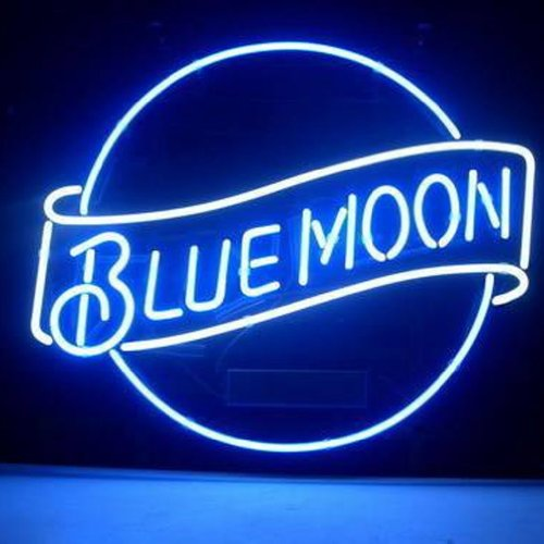 Hozer Professional 17*14 Blue Moon Lager Beer Design Decorate Neon Light Sign Store Display Beer Bar Sign Real Neon Signboard For Restaurant Convenience Store Bar Billiards Shops