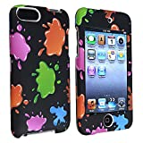 eForCity Snap-On Rubber Coated Case for iPod touch 2G/3G (Black/Colorful Blobs) ~ eForCity