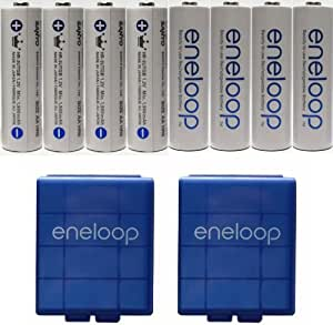 """NEW Sanyo Eneloop 3rd generation eneloop """"Tropical Limited Edition"""" HR-3UTGB 8 Pack AA NiMH Pre-Charged Rechargeable Batteries-Newest version 1800 Cycles + 2 eneloop battery cases"""