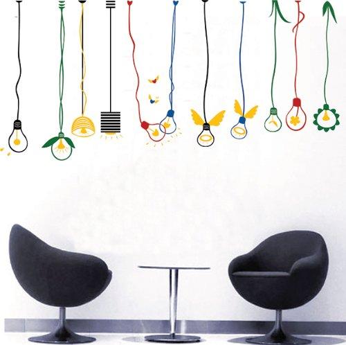 Pop Decors Removable Vinyl Art Wall Decals Mural for Nursery Room, Lovely Light Bulbs