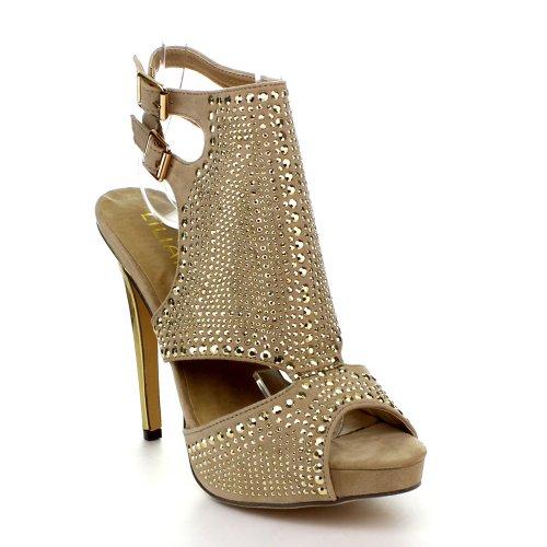 Liliana Vanity-44 Women'S Studded Peep Toe High Heel Sandals, Color:Nude, Size:7.5