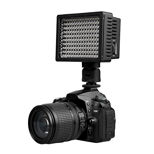 On Camera Video Light, HONGDAK 160 LED Dimmable Ultra High Power Panel Digital Camera / Camcorder Video Light, LED Light for Canon, Nikon, Pentax, Panasonic, SONY, Samsung and Olympus (Professional Led Video Light compare prices)