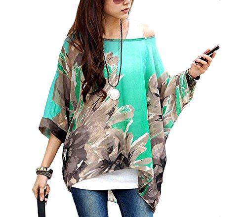 Blusa in chiffon oversize taglio asimmetrico maglia elegante e casual con stampa floreale verde 001 .MWS
