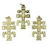 Lot of 3 Gold Tone Crucifix Cruz De Caravaca Cross with Angels Pendant, 1 1/2 Inch