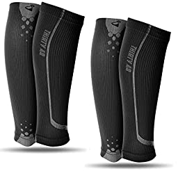 Graduated Compression Sleeves by Thirty48 Cp Series, Calf/Shin Splint Guard Sock; 2 Pairs; Maximize Faster Recovery by Increasing Oxygen to Muscles; Great for Running, Cycling, Walking, Basketball, Football Soccer, Cross Fit, Travel; Money Back Guarantee