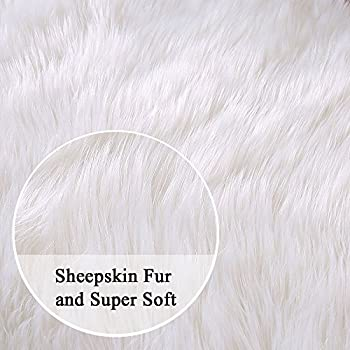 Ojia Deluxe Soft Modern Faux Sheepskin Shaggy Area Rugs Children Play Carpet for Living & Bedroom Sofa (3ft x 5ft, Ivory White)
