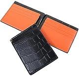 【Legare】 マネークリップ 財布 薄型 (クロコブラック×オレンジ) 誕生日 プレゼント にも最適 (Legareオリジナル化粧箱入りにてお送りします)
