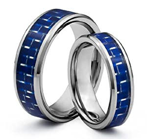His & Her's 8MM/6MM Tungsten Carbide Wedding Band Ring Set w/ Blue Carbon Fiber Inlay (Available Sizes 4-14 Including Half Sizes)