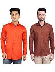 Nimegh Brown, Orange Color Cotton Casual Slim Fit Shirt For Men's (Pack Of 2)