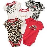 Calvin Klein Baby Girls' 5 Pack Assorted Bodysuits, Red/Print, 3-6 Months