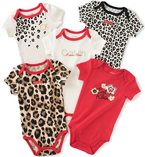 Calvin Klein Baby Girls' Assorted Short Sleeve Bodysuit, Red/Print, 6-9 Months (Pack of 5)