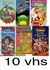 christmas pack 10 vhs: Night Before Christmas, the magic of christmas: stories of christmas & rudlph the red nosed reindeer, Tales from Dickens, christmas pupies, Pinocchio Wish for Christmas, The Little Tin Soldier, Santa's Surprise, Here Comes Santa Paw