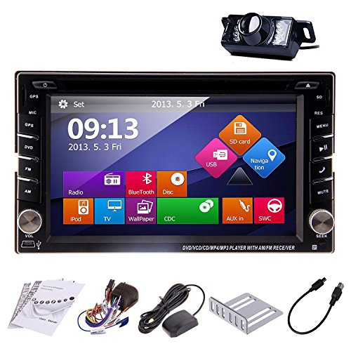 Rear Camera Included Ouku 2014 New Model 6.2-Inch Double-2 Din In Dash Car Dvd Player Touch Screen Lcd Monitor With Dvd/Cd/Mp3/Mp4/Usb/Sd/Amfm/Rds Radio/Bluetooth/Stereo/Audio And Gps Navigation Sat Nav Head Deck Tape Recorder Wall Paper Exchange Hd:800*4