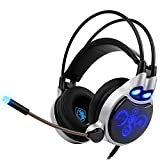 Lemumu Sades-908 Vibration function with deep bass fone de ouvido Pro Gaming Headphones 7 Color ice Game Headset with Kitty for PC gamer, Blue