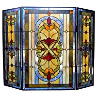 Chloe Lighting Tiffany 3 Panel Bronze Fi...