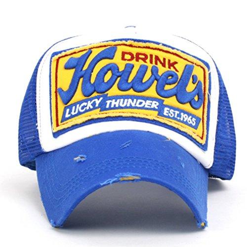 ililily Howel s Distressed Vintage Cotton Baseball Mesh Cap Snapback  Trucker (XL-Blue)  74c86366c33