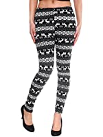 Simplicity Women's Nordic Snowflake Reindeer Knitted Fleece Lined Leggings