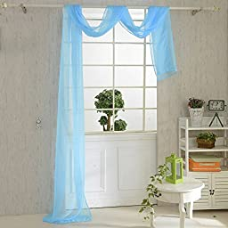 Sunlilee Solid Voile Sheer Scarf Valance Washable 31.5\