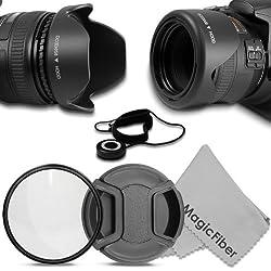 58MM Lens Essentials Kit - Includes: Reversible Tulip Lens Hood + UV Filter + Center Pinch Lens Cap and Cap Keeper Leash + MagicFiber Microfiber Lens Cleaning Cloth