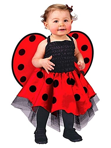 [Boo Infant Girls Baby Ladybug Costume Red Polka Dot Dress & Wings 12-24 Months] (Baby Ladybug Halloween Costumes)