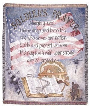 "Soldier'S Prayer Military Religious Tapestry Throw Afghan 50"" X 60"" front-992825"
