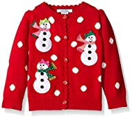 Hartstrings Baby-Girls Applique Snowman and Knit Polka Dot Cardigan Sweater
