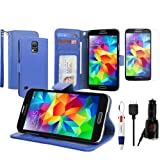 BIRUGEAR Blue Wallet Folio Leather Stand Case + Screen Protector + Car Charger for Samsung Galaxy S5, S 5 SM-G900 with *4-Color Clip Pen*