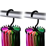 "IPOW 2 Pack 360 Degree Rotating Twirl Tie Rack Adjustable Tie Belt Scarf Hanger Holder Hook Ties Scarf for Closet Organizer Storage (4.4""black)"