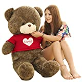 "Molity Sweatheart Giant Teddy Bear 39"" 1M Dark Brown with Love Sweater"
