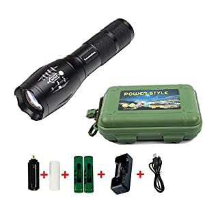 Coomatec SD-100 Kit Ultra Puissante 900 Lumens Lampe de Torche Poche LED rechargeable Zoom Flashlight 18650 Chargeur