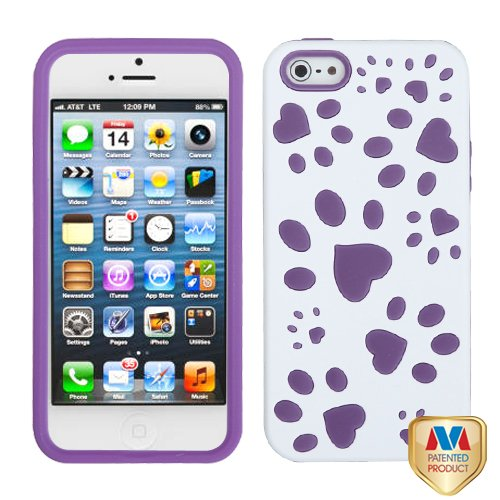 Apple Iphone 5 Hard Plastic Snap On Cover Rubberized Solid Ivory White/Electric Purple Puppypaw Hybrid At&T, Cricket, Sprint, Verizon Plus A Free Lcd Screen Protector (Does Not Fit Apple Iphone Or Iphone 3G/3Gs Or Iphone 4/4S)