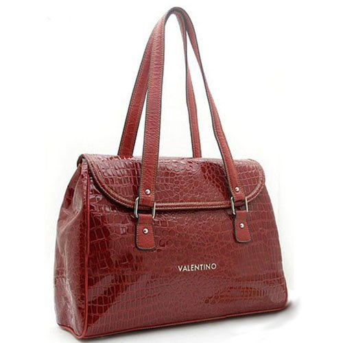 Valentino Red Reptile Textured Handbag Purse