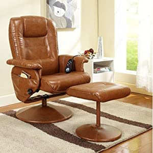 Reclining Massage Chair with Ottoman Color: Light Brown