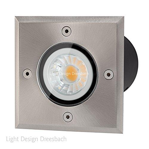 Set Of 1 Floor Recessed Spotlights Underground Lights Square With Led Cob Spot 5Watt 450 Lumen Cool White 5500 Kelvin Gu10 Ip67 Through Wiring