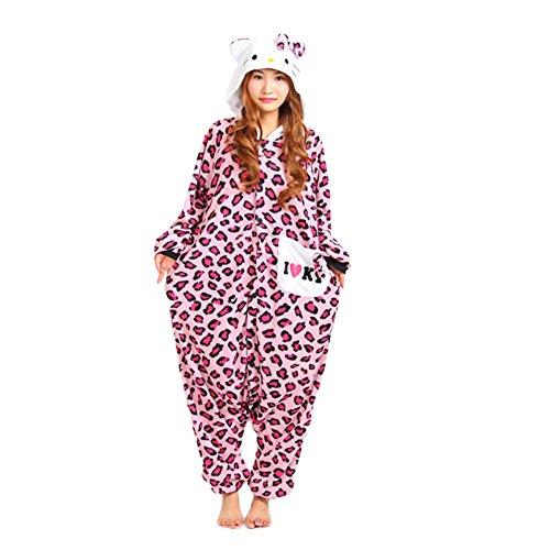 Kigurumi Pajamas Engerla Halloween Animal Cosplay One Piece, pigiama abbigliamento Felpa con cappuccio Pink Leopard Kitty Cat Large