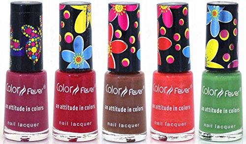 Color Fever Color Fever Multi Shine Nail Polish Value Pack Brown/Red/Pink/Green, 0.85 Ounce