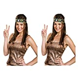 Groovy Peace Sign Hippie Headband (2 PACK Adult OS, Blue, Brown, Gold)