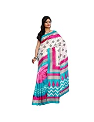Stylish Pink Colored Printed Art Silk Saree By Triveni