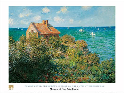 Fisherman's Cottage On The Cliffs At Varengeville by Claude Monet 24x32 Art Print Poster Beautiful Ocean View Landscape House (Cliff House Poster compare prices)