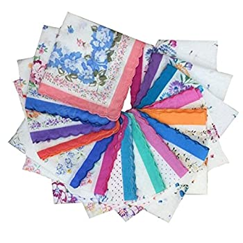 VEBE Womens/Girls Vintage Floral Wedding Party Cotton Handkerchiefs