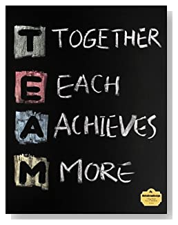 T.E.A.M. Notebook - Perfect for a co-worker gift or as part of a seminar packet. TEAM, Together Each Achieves More, written in colored chalk on a chalkboard background ties the theme together on the cover of this college ruled notebook.