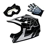 Motocross MX BMX Youth Spider Black Helmet (Size: Large) + Goggle + Skeleton Glove (Size: Medium)