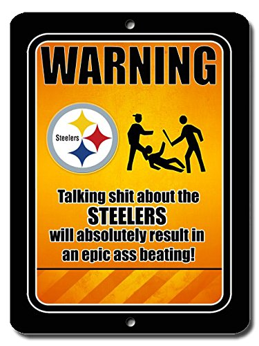 Funny Warning Football Steelers 9x12 Aluminum Sign Wall Art at Steeler Mania